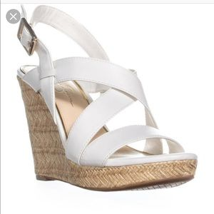 Jessica Simpson White Leather Wedge Sandals